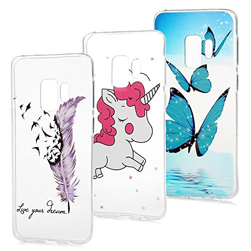 S9 Case, Galaxy S9 Clear Case, 3 Pcs Soft TPU Shell Colorful Painting Cute Pattern Slim Fit Lightweight Shockproof Protective Bumper Cover for Samsung Galaxy S9 KASOS - Unicorn,Butterfly,Feather