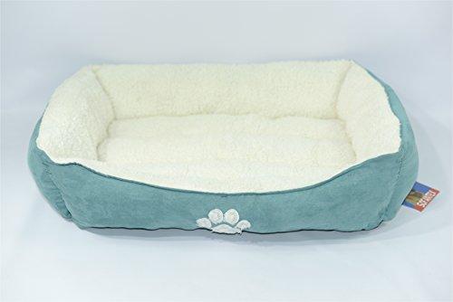 "Sofantex Pet Bed Ultra Soft Pet Sofa Warm White Sherpa Rim and Bed 32""x24""x9"" (Blue/White)"