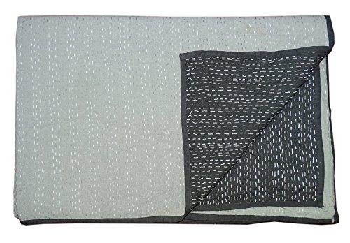Bhavya International 100% Cotton Kantha Quilt Reversible Handmade Bedspread