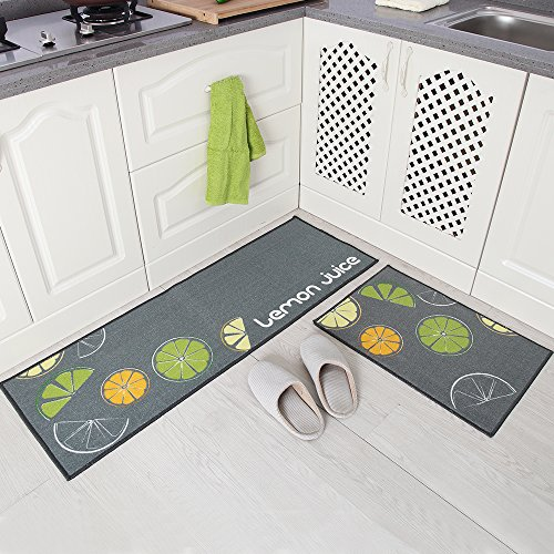 Carvapet 2 Piece Non-Slip Kitchen Mat Rubber Backing Doormat Runner Rug Set, Lemon Design