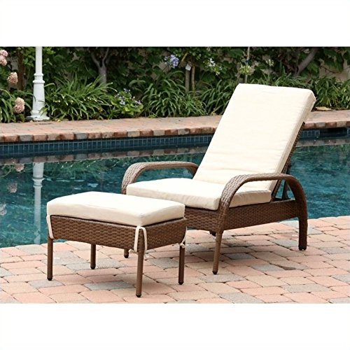 Abbyson Palermo Outdoor Wicker Chaise Lounge with Cushion, Brown