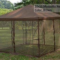 APEX GARDEN Universal 10' x 10' Gazebo Replacement Mosquito Netting - Brown