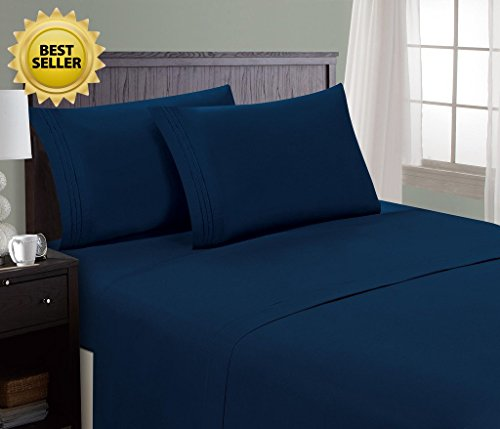 HC Collection Bed Sheet & Pillowcase Set HOTEL LUXURY (King, Navy Blue)