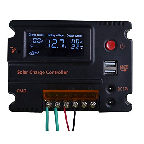 FISTERS 20A 12V/24V LCD Solar Panel Battery Regulator Charge Intelligent Controller Overload Protection Temperature Compensation