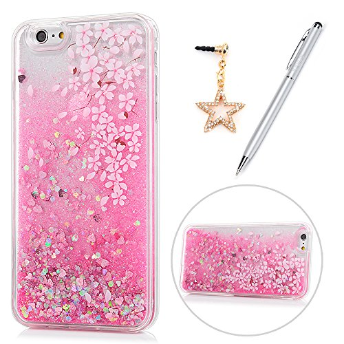iPhone 6 Plus Case for Girls, iPhone 6S Plus Case, KASOS Colorful Painting Pink Flower Bling Glitter Quicksand Soft TPU Frame PC Back Shell Slim Fit Cover & Dust Plug & Stylus - Cherry Blossom