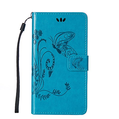 HTC One M8 Case,Gift_Source [Card Slot] [Kickstand Feature] Magnetic Closure PU Leather Flower Butterfly Embossed Wallet Case Folio Flip Case with Strap for HTC One M8 [Blue]