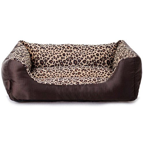 Echo Paths Comfortable Pet Bed Sleep Cozy Dog Cat Caves Beds for Pets Paw Printed Leopard M (22.817.75.5 inch)