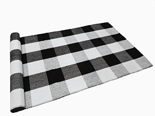 Ukeler Buffalo Check Rug, Black and White Plaid Rugs Cotton Hand-woven Checkered Carpet