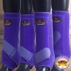 HILASON 4 PACK SML HORSE MEDICINE SPORTS BOOTS FRONT REAR HIND HIND LEG PURPLE