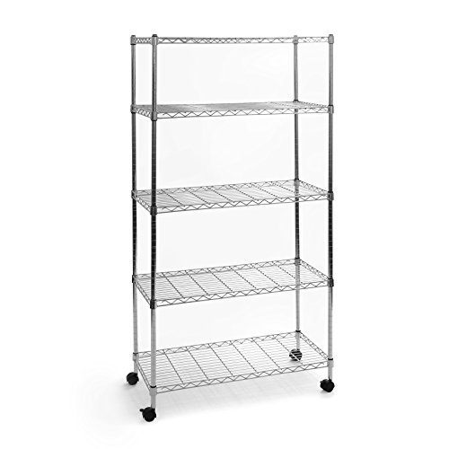"Seville Classics 5-Tier UltraZinc Steel Wire Shelving /w Wheels, 14"" D x 30"" W x 60"" H"