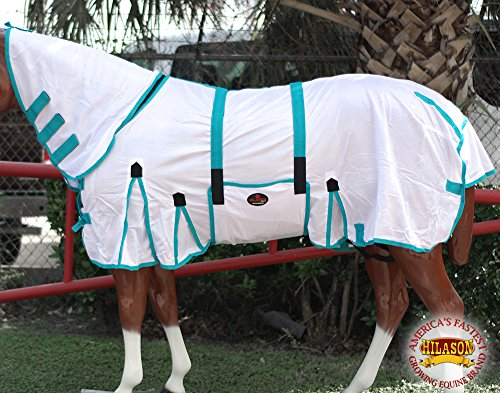 "HILASON 78"" POLY AIRFLOW MESH HORSE FLY SHEET WITH NECK COVER & BELLY STRAP WHITE/TURQUOISE"