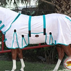 """HILASON 78"""" POLY AIRFLOW MESH HORSE FLY SHEET WITH NECK COVER & BELLY STRAP WHITE/TURQUOISE"""