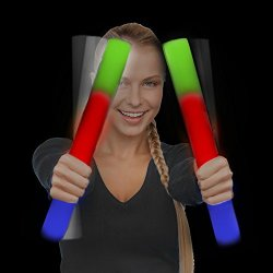 Fun Central 24 Pack LED Foam Stick Baton- Multi-color Light Up Baton, Foam Sticks, LED Sticks, Foam Baton, for Parties, Festivals, Sports, Concerts, Birthday and More!