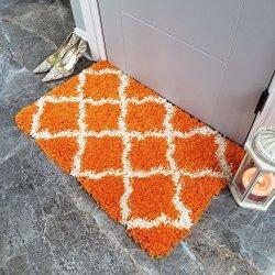 Maxy Home Bella Trellis Orange 1 ft. 8 in. x 2 ft. 7 in. Shag Door Mat