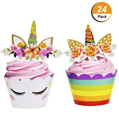 Maxdot 24 Set Unicorn Cupcake Toppers and Wrappers Double Sided Design for Party Cake Decorations