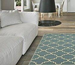Maxy Home Hamam Moraccan Trellis Sage Green 5 ft. x 6 ft. 6 in. Rubber Backed Area Rug