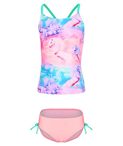 BELLOO Girls Tankini 2 Piece Bathing Suits With Unicorn