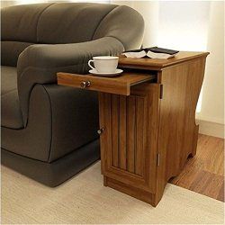 Pemberly Row Wood Storage Chairside End Table in Brown
