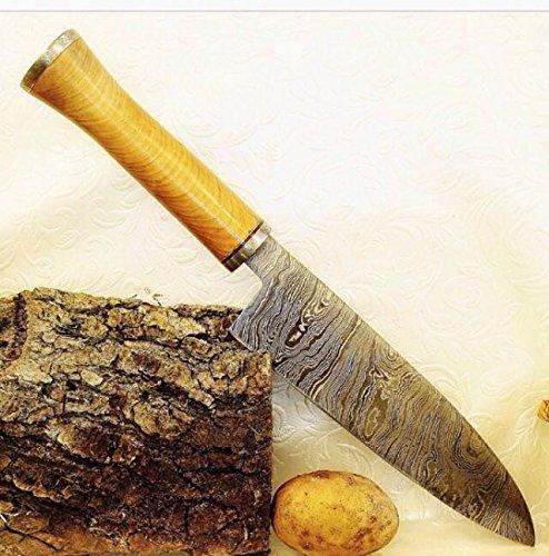 RK 11, Handmade Damascus Steel Santoku Knife - Perfect Grip Olive Wood Handle