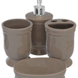 Solid Taupe Glossy Ceramic 4 Piece Bathroom Sink Bath Accessory Set