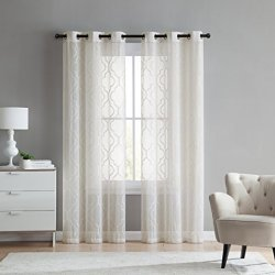 2 Pack: VCNY Home Charlotte Embroidered Quatrefoil Trellis Semi Sheer Curtain Panels