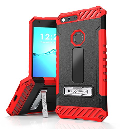 Google Pixel XL Case, Trishield Durable Shockproof High Impact Rugged Armor Black Red Phone Cover With Detachable Lanyard Loop And Built in kickstand Card Slot