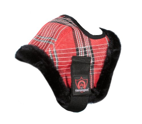 Kensington Mini Fly Mask with Fleece Trim (Under 34-Inch), Size A, Deluxe Red Plaid