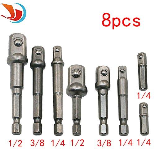 QST 8Pcs Socket Adapter Impact Hex Shank Drill Bits Bar Set