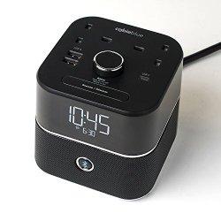 United Kingdom 220v Power - CubieBlue - UK Alarm Clock Charger w/ 2 USB-A Ports, 1 USB-C port and 2 (UK 220v) Charging Alarm Clock with Bluetooth Speaker