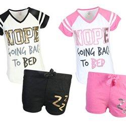 dELiAs Girl's Varisity Pajama Sleepwear Short Set, Going To Bed