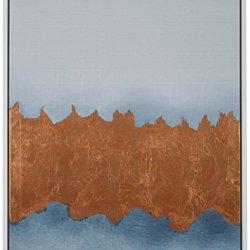 "Rivet Copper Metallic Foil Canvas Print in White Frame, 21.75"" x 17.75"""