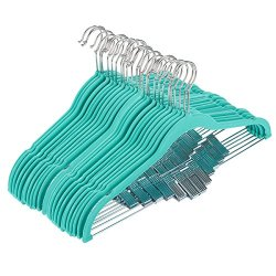 """Juvale 24 Pack Adult Clothes Velvet Hangers with Clips Teal Ultra Thin No Slip 17.5"""" x 0.2"""" x 9.5"""""""