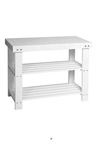 """24"""" Entryway White Wood MDF Bathroom Bench 2-Shelf Shoe Rack Organizer"""