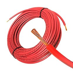 50FT Solar PV Cable, 8 AWG, 2000V Wire, UL 4703 Listed, Copper , PV Approved & Sunlight resistant, RED Color