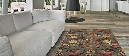 Maxy Home Hamam Floral Blue 2 ft. 8 in. x 9 ft. 10 in. Rubber Backed Runner Rug
