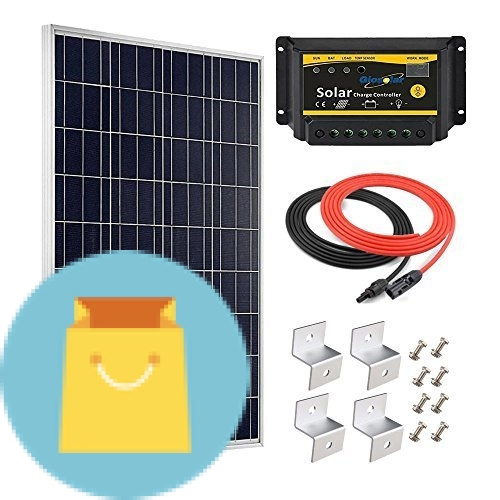 Giosolar 100W 12V Polycrystalline Solar Panel Kit with 20A LED Charge Controller