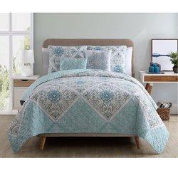 VCNY Home Windsor 5 Piece Reversible Quilt Cover Set, King, Aqua