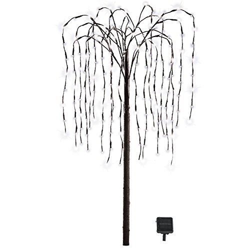 Collections Etc Outdoor Decorations Artificial Willow Tree with Solar Powered Lights