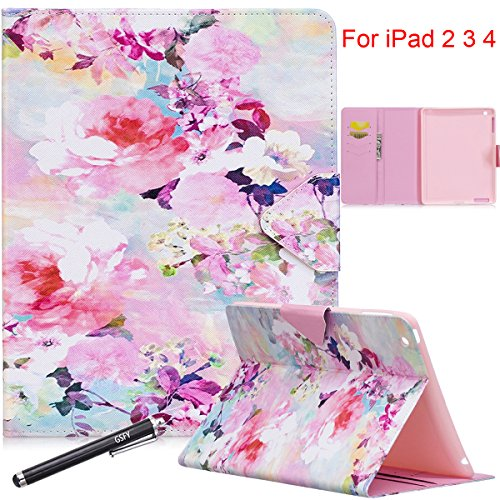 iPad 2 Case, iPad 3 Case, iPad 4 Case - Newshine Colorful Premium PU Leather Smart-shell Stand Cover with Magnetic Closure