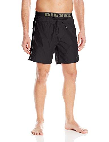 Diesel Men's Dolphin 4 inch Solid Boxer Swim Short, Black, Large