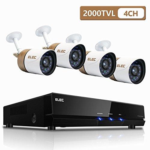 ELEC Security Camera System, 4 Channel AHD 1080N 2000TVL CCTV Surveillance DVR Cameras with 4 Weatherproof 1.3MP Bullet Cameras (IR-Cut, Night Vision, NO Hard Drive)