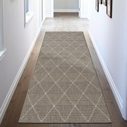 Ottomanson Jardin Collection Contemporary Trellis Design Indoor/Outdoor Jute Backing Synthetic Sisal Runner Rug