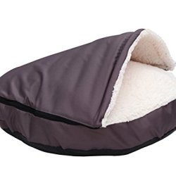 """HappyCare Textiles Durable oxford to Sherpa Pet Cave and Round Pet Bed , 25"""", with removable top and insert"""