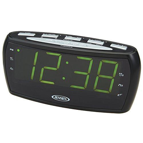 Jensen JCR-208A AM/FM Alarm Clock Radio with 1.8-Inch Green LED Display
