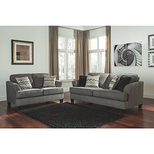 Benchcraft Gayler Contemporary Living Room Loveseat - 2 Accent Pillows Included - Polyester Upholstery - Steel Gray