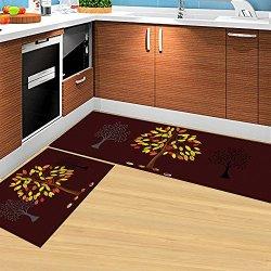 HEBE Kitchen Rugs Set of 2 Piece Non-Slip Kitchen Mat and Rug Rubber Backing Doormat Runner Rug Set