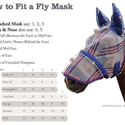 Kensington KPP Fly Mask with Fleece Trim with Ears, Blue Ice Plaid, X-Large