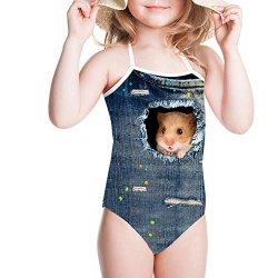 Girls One Piece Swimsuit Adjustable Bikini Bathing Suit Swimwear