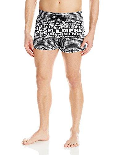 Diesel Men's Sandy All Over Logo 12inch Swim Trunk, White/Black Allover Print, Large