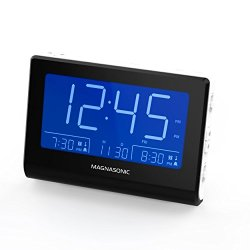 "Magnasonic Alarm Clock Radio with Battery Backup, Dual Gradual Wake Alarm, Adjustable Brightness, Daylight Savings Time, Large 4.8"" LED Display, AM/FM, Sleep Timer, Day/Date Display (CR61W)"
